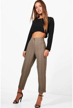 Brown Petite Checked Tapered Pants