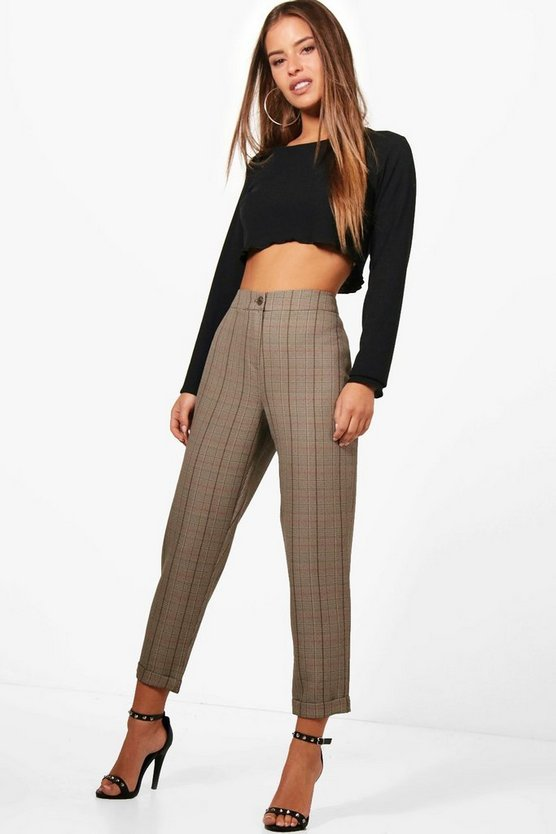Petite Checked Tapered Pants