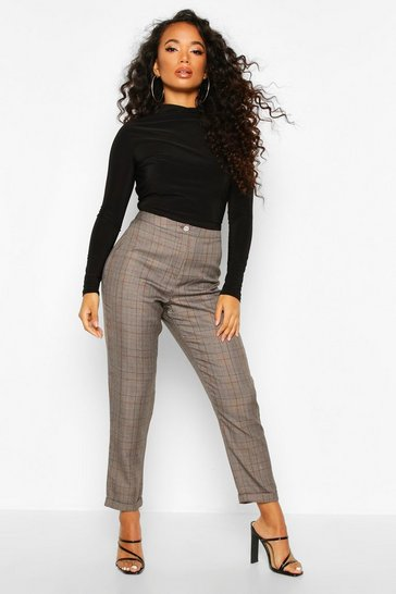 Grey Petite  Checked Tapered Trouser