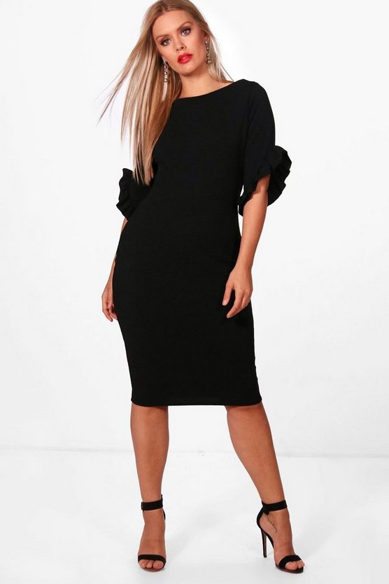 Plus Boat Neck Frill Sleeve Midi Dress