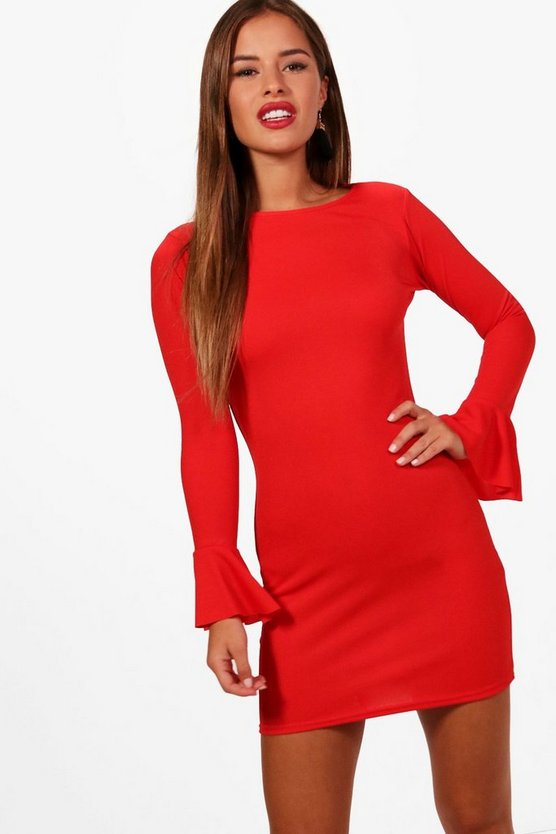 Petite Ruffle Cuff Long Sleeve Bodycon Dress