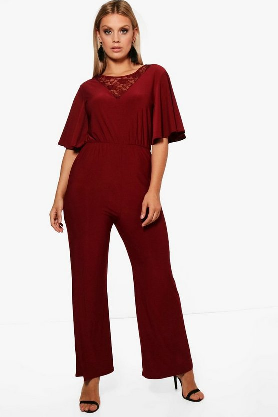 Plus Slinky Wide Leg Lace Jumpsuit