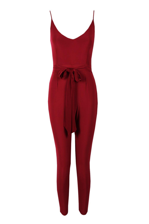 Jumpsuit plum Tie Strappy Waist Petite qPOwxCTt