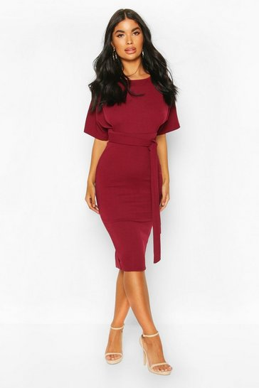 Berry Petite  Tie Waist Formal Wiggle Midi Dress