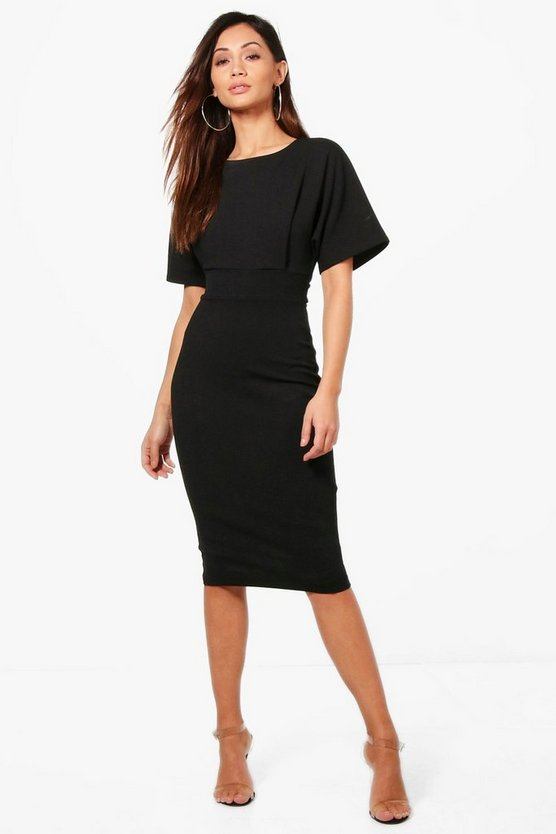 Womens Black Petite Tie Waist Formal Wiggle Midi Dress
