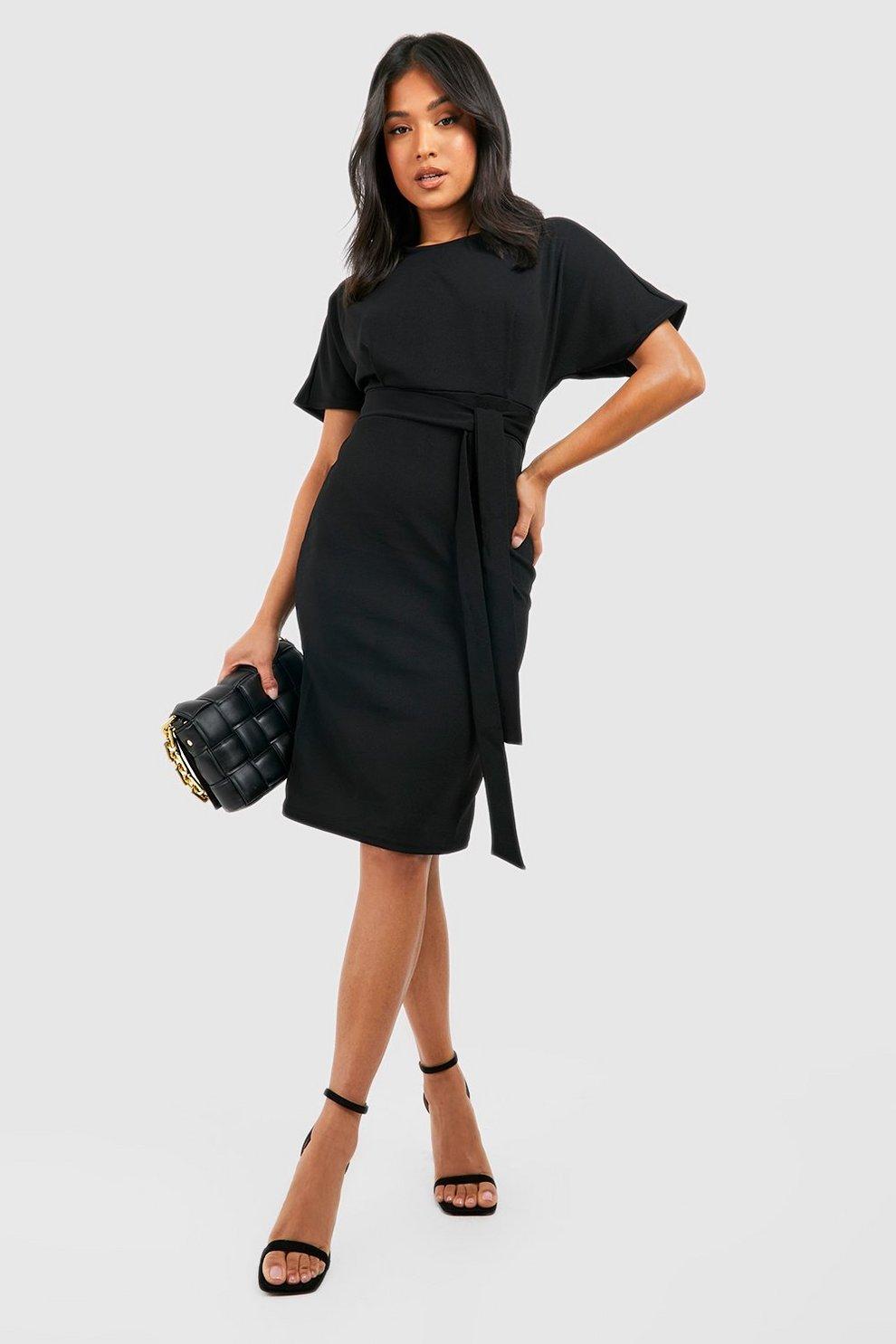 a28daadbf0c1 Womens Black Petite Tie Waist Formal Wiggle Midi Dress