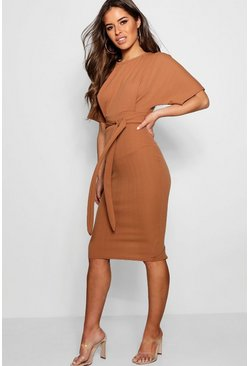 Womens Camel Petite  Tie Waist Formal Wiggle Midi Dress