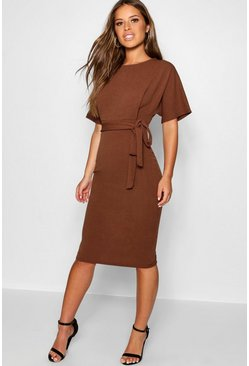 Chocolate Petite  Tie Waist Formal Wiggle Midi Dress
