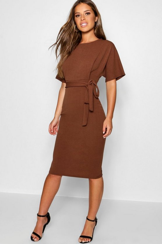 Womens Chocolate Petite Tie Waist Formal Wiggle Midi Dress