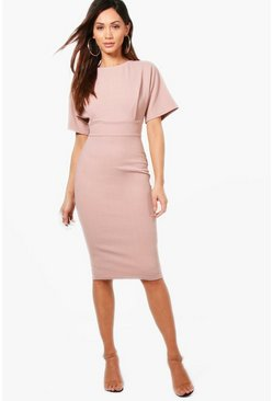 Womens Mink Petite Tie Waist Formal Wiggle Midi Dress