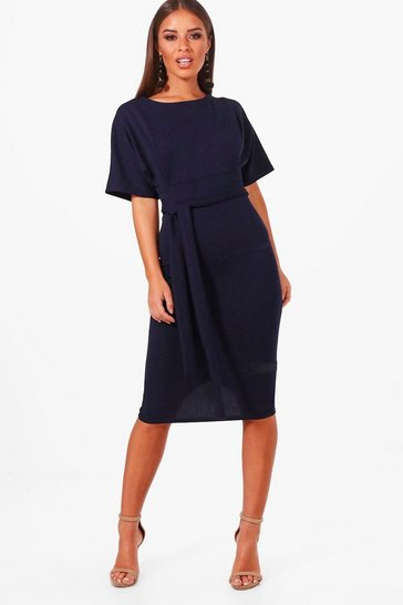 Womens Navy Petite  Tie Waist Formal Wiggle Midi Dress