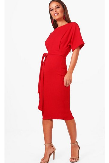 Womens Red Petite  Tie Waist Formal Wiggle Midi Dress