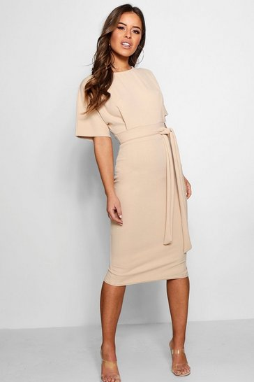 Stone Petite  Tie Waist Formal Wiggle Midi Dress