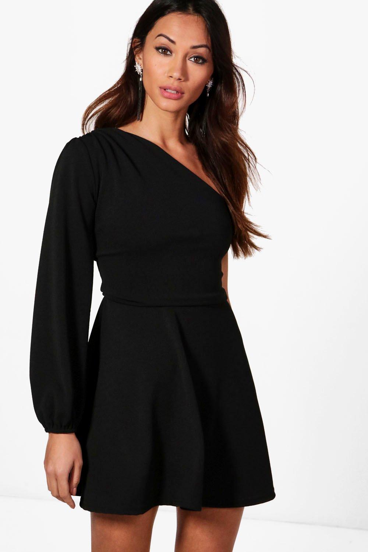 Petite Abi Asymmetric Volume Sleeve Dress | boohoo