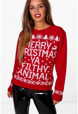 Petite Merry Christmas Ya Filthy Animal Jumper, Red