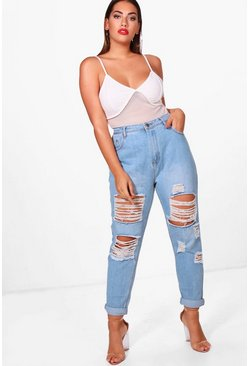 Womens Blue Plus  All Over Ripped Jean