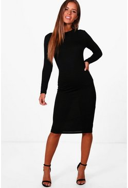 Petite  Basic Long Sleeve Midi Dress, Black, Donna