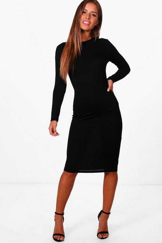 Petite Basic Long Sleeve Midi Dress