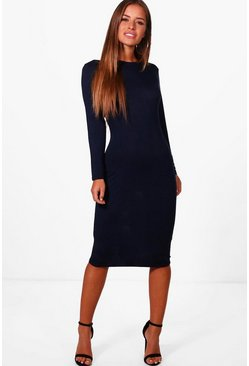 Womens Navy Petite  Basic Long Sleeve Midi Dress