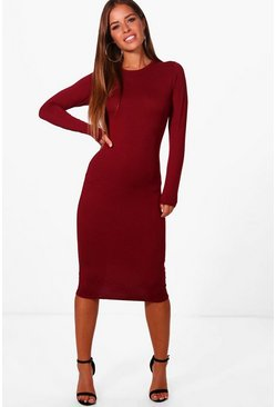 Womens Plum Petite  Basic Long Sleeve Midi Dress