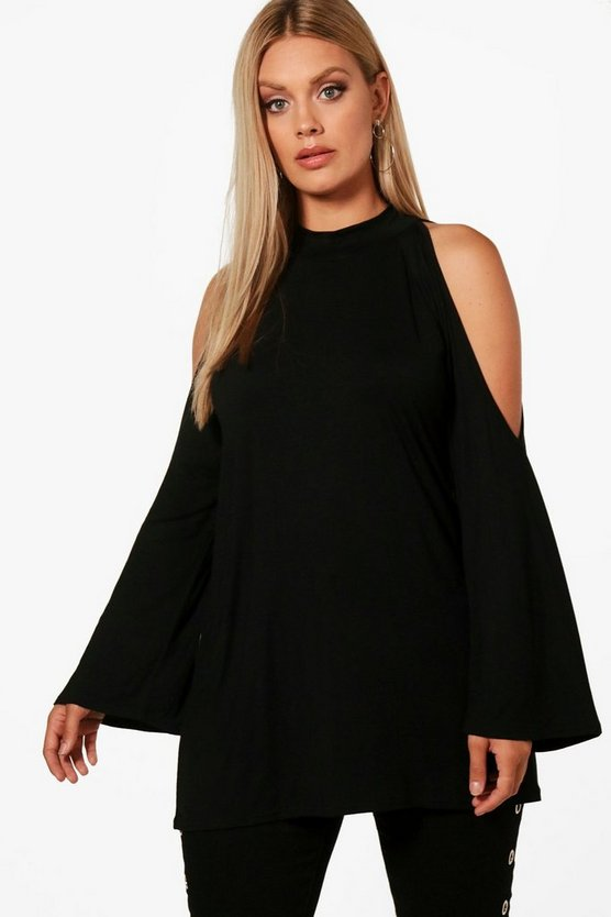 Womens Black Plus Open Shoulder High Neck Top