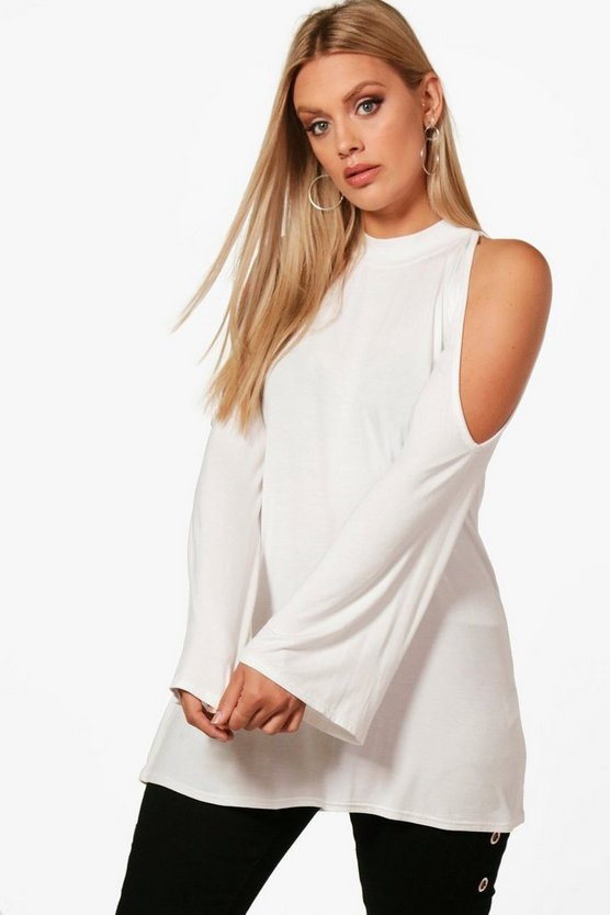 Plus Open Shoulder High Neck Top