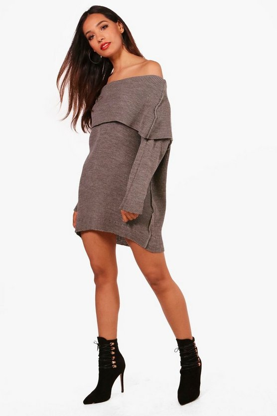 Petite Amanda Reverse Knit Off Shoulder Jumper Dress