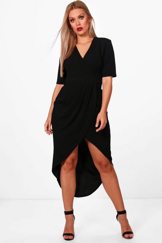 Plus Wrap Front Midi Dress