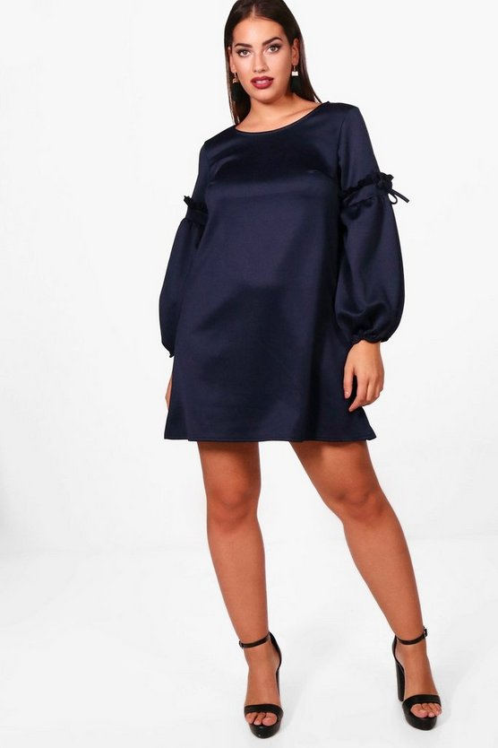 Plus Ruched Sleeve Shift Dress