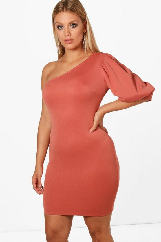 Plus Emma Puff Sleeve One Shoulder Midi Dress