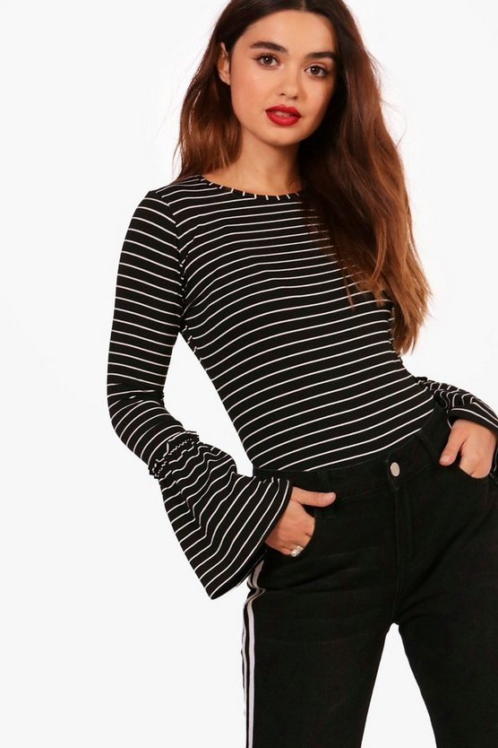 Petite Striped Frill Sleeve Top