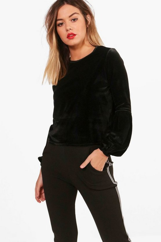 Petite Jess Volume Sleeve Velvet Box Top