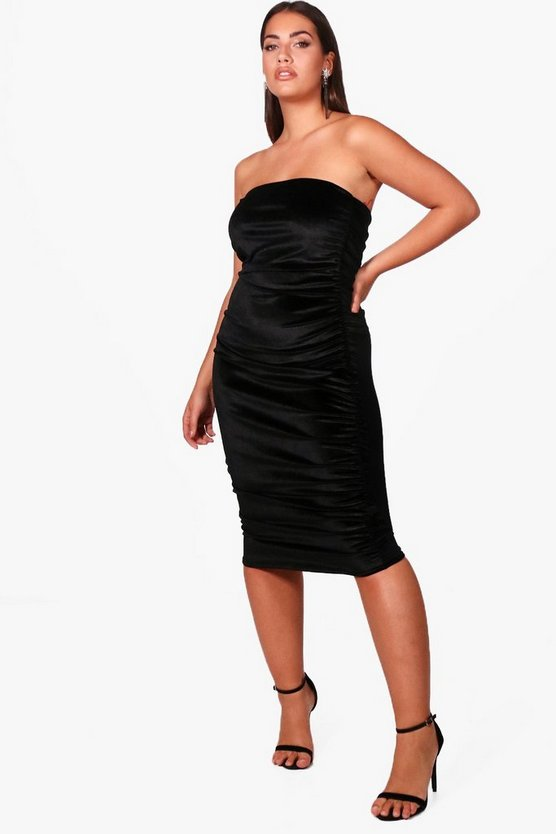 Womens Black Plus  Ruffle Velvet Midi Dress