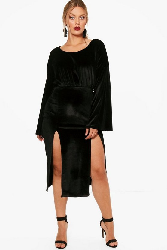 Plus Long Sleeve Velvet Midi Dress