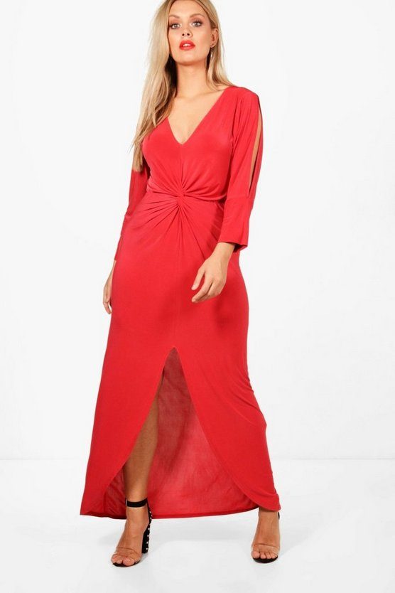 Plus Twist Front Plunge Maxi Dress