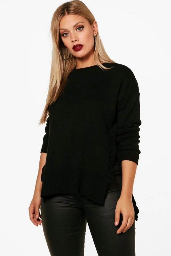 Womens Black Plus Side Split Ruffle Jumper