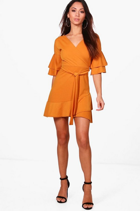 Petite Riley Ruffle Sleeve Wrap Frill Dress