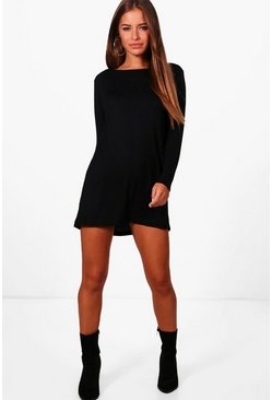 Womens Black Petite  Long Sleeve Shift Dress