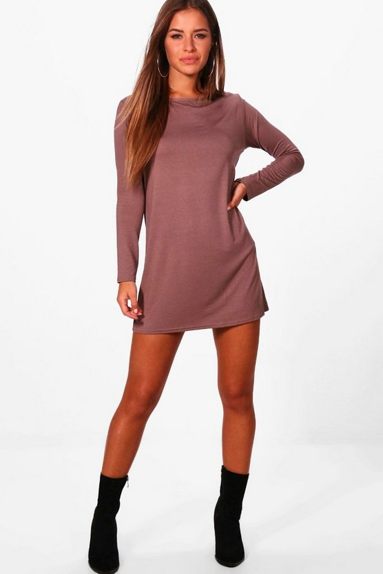 Petite Long Sleeve Shift Dress