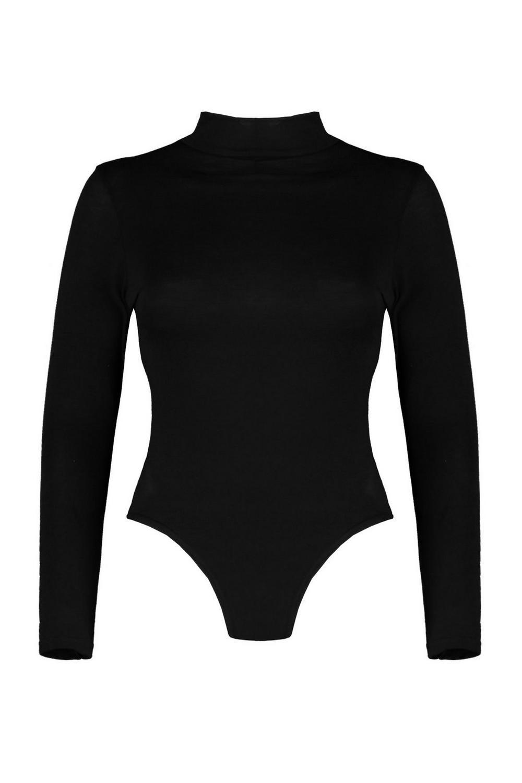 Turtle Neck Long Bodysuit black Sleeve Petite 8xvORawa