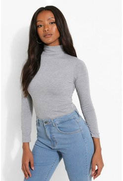 Grey marl Petite  Turtle Neck Long Sleeve Bodysuit