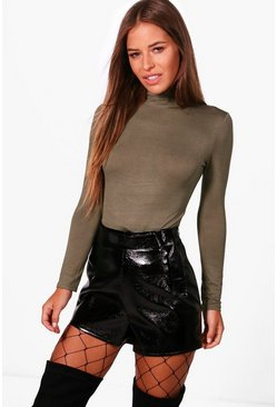 Womens Khaki Petite  Turtle Neck Long Sleeve Bodysuit