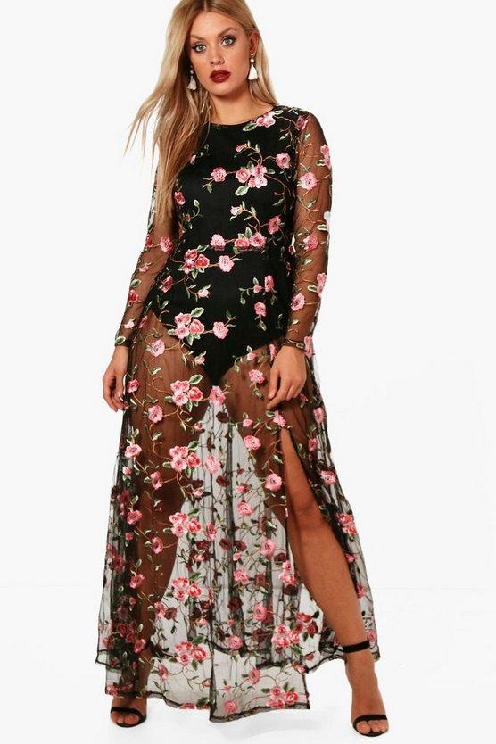 Plus Embroidered Maxi Dress
