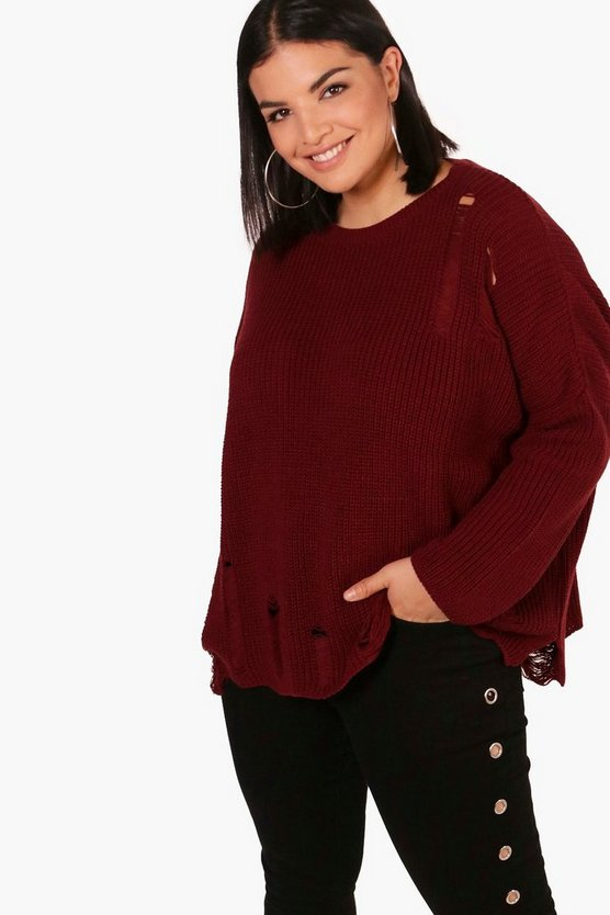 Womens Berry Plus Distressed Oversized Jumper