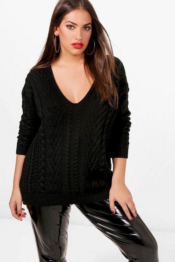 Womens Black Plus V Neck Cable Knitted Sweater