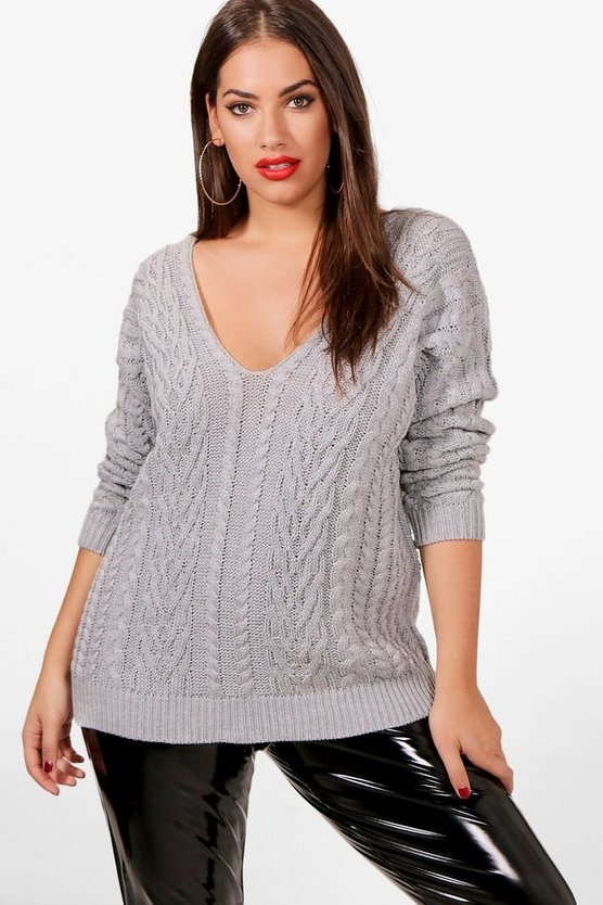 Plus V Neck Cable Knitted Jumper