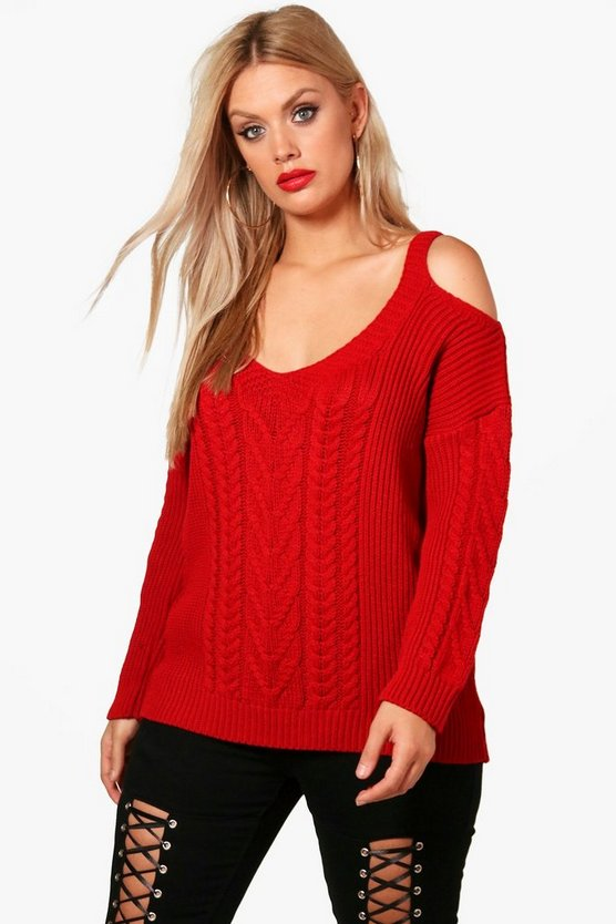 Plus Open Shoulder Cable Knitted Jumper