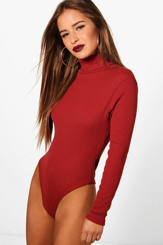 Petite  Turtle Neck Knitted Bodysuit