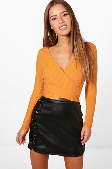 Womens Amber Petite  Knitted Wrap Bodysuit