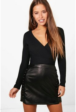 Womens Black Petite  Knitted Wrap Bodysuit